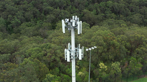 Aerial panorama footage of a telecommunications tower Live Action