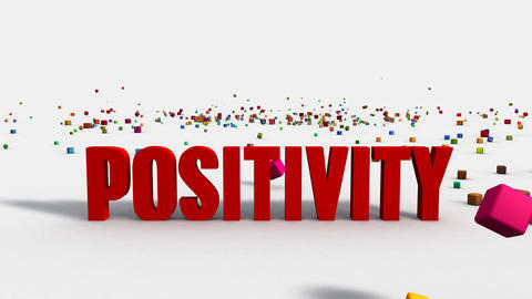 Positivity Concept on White Background with Colorful Blocks Animation