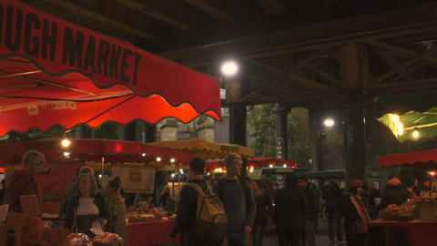Panning shot of the traditional Borough Market in London, UK Footage