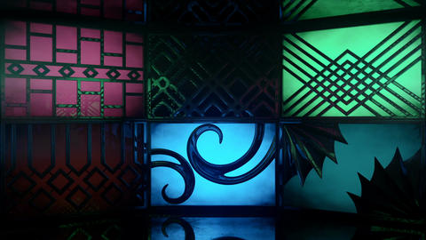 Glowing blinking light boxes with ornate patterns Animation