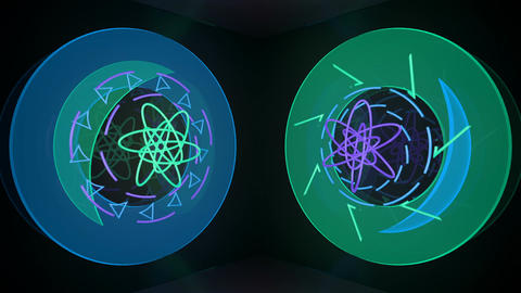 Abstract translucent neon art on moving elevator walls Animation