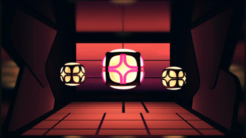 Asian inspired rooms with glowing lantern lights and animated walls and floors Animation