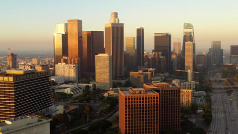 Flying Towards Downtown Los Angeles Live Action