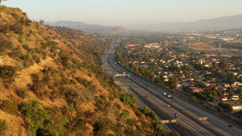 Aerial Los Angeles Freeway traffic Live Action