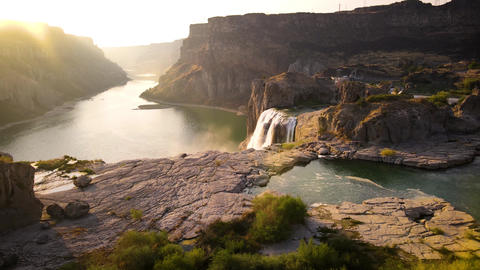 Aerial shot of Shoshone Falls on the Snake River in Idaho Live Action