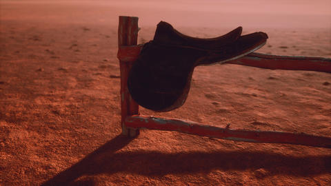 Horse Saddle on the Fence in Monument Valley Live Action