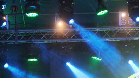 Stage Multi-colored Lighting. Concert Lights. Lighting Effects on Concert Stage Live Action