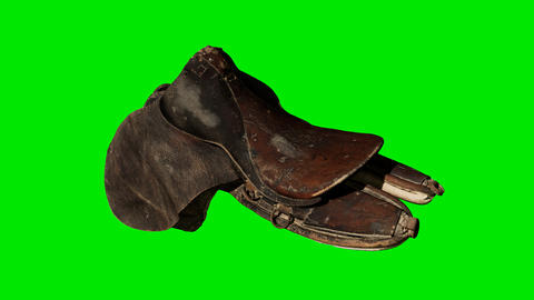Vintage Horse Saddle on green chromakey background Live Action