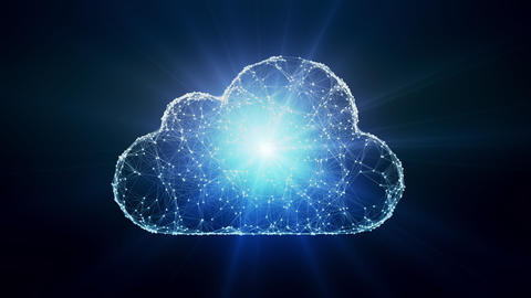 Cloud computing conception chaotically slow moving connected points cloud technology cloud storage Live Action