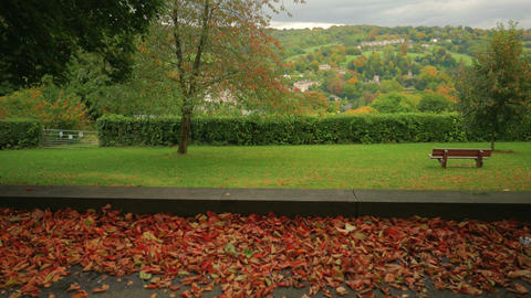 Jib shot featuring an autumn landscape in the city of Bath, UK Footage