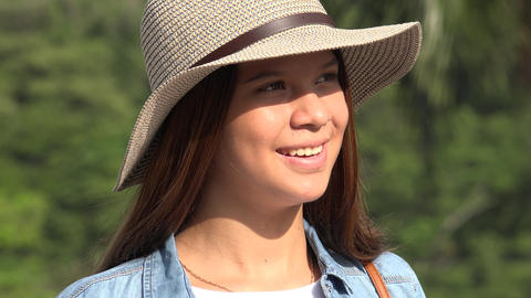 Teen Girl Sunny Day Puts On Sunglasses Footage