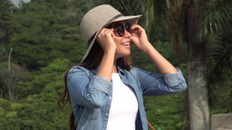 Teen Girl With Sunglasses On Sunny Day Footage
