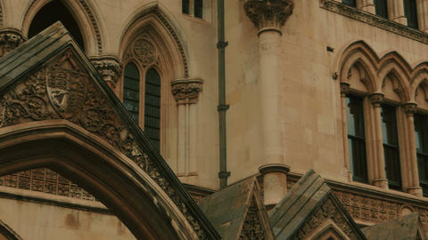 Ultra closeup shot of the Royal Courts of Justice in London, England, UK Footage