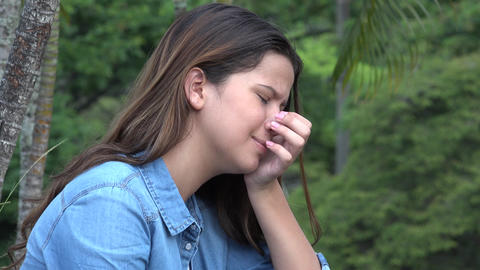 Hispanic Teen Girl Crying With Emotional Pain Live Action