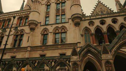 Wide Panoramic shot of the Royal Courts of Justice in London, England, UK Footage