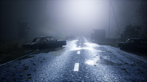 Foggy mystical abandoned road with abandoned cars. Animation for apocalypse, mystic and science 動畫