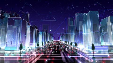 Digital City Network Building Technology Communication Data Business Night Ac2 Animation