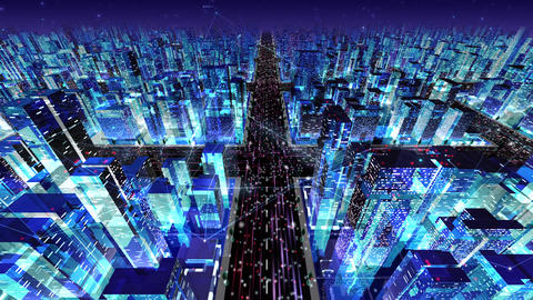 Digital City Network Building Technology Communication Data Business Night Ba2 Animation