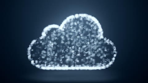 Cloud computing symbol from the chaotically slow moving connected points cloud technology cloud Live Action