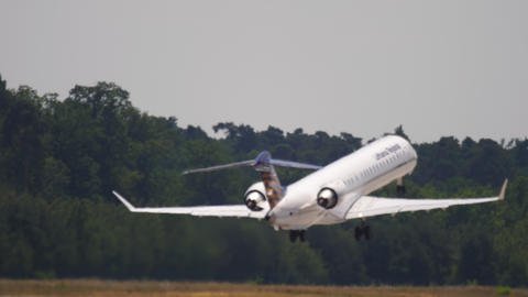 Lufthansa Regional Bombardier CRJ-900 airliner taking off Live Action