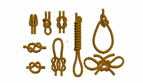 ropes are tied in different knots Animation