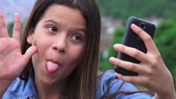 Pretty Teen Girl Posing For Selfies Live Action