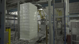 Conveyor belt with the goods during production at the factory Live Action