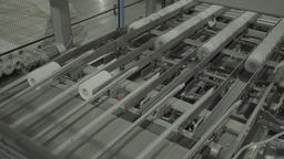 Rolls of paper are transferred to the conveyor at the factory Live Action