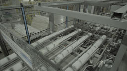 Conveyor finished products running in the factory Live Action
