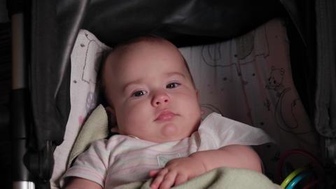 infant, childhood, emotion concept - close-up of smiling face of brown-eyed Live Action