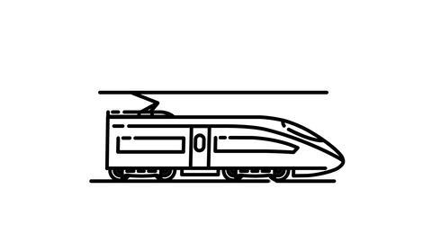 Modern Train Locomotive line icon on the Alpha Channel Animation