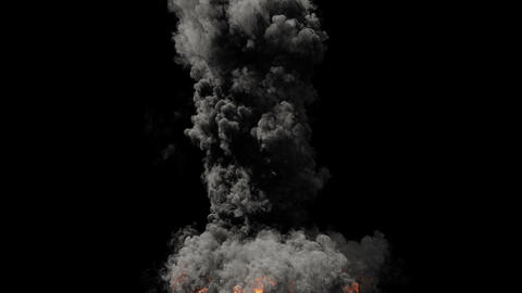 A powerful fire of fuel with a large amount of black smoke. Huge fire with thick black smoke. An Animation