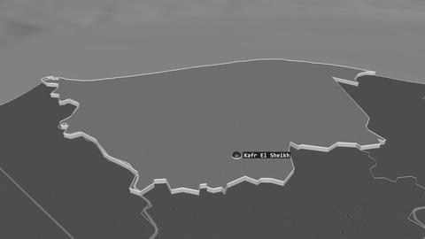 Kafr ash Shaykh extruded. Egypt. Stereographic bilevel map Animation