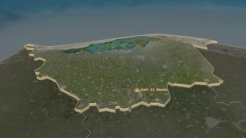 Kafr ash Shaykh extruded. Egypt. Stereographic satellite map Animation