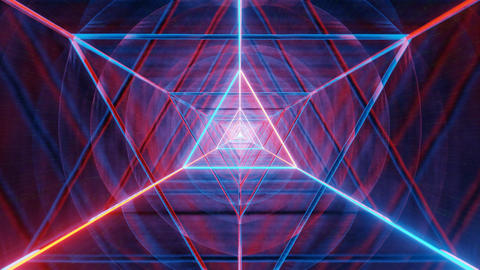 glowing neon triangle wireframe science fiction space design - a red, orange and Animation