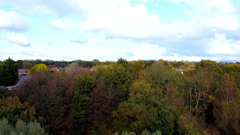 Aerial Drone Shot Flying over Trees in the Woods towards Houses & UK Town (4K) Live Action