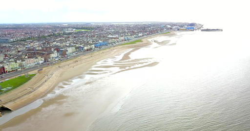 Aerial Overhead Drone Shot Rotating from Sea viewing UK City of Blackpool (4K) Live Action