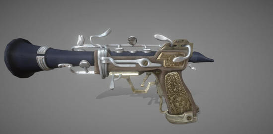 Polypus mortem clarinet pistol rigged 3D Model