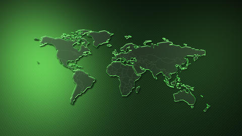 World Map Global USA Europe Asia background A All Green Animation