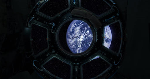 1080p Spaceship Window / Space Travel / Planet Earth Footage