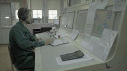 Male Manager working in the control room Stock Video Footage