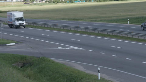 4K Ungraded: Tipper Drives on Intercity Highways Footage