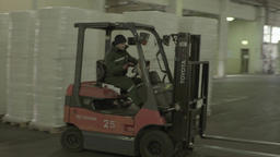 Working the forklift in the warehouse of goods Footage