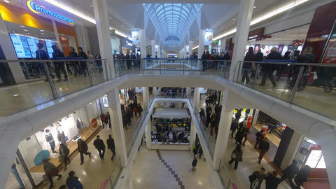 Shopping Center. Lyon (France) - people walk Time leaps 4K Ultra HD Clip. 01 Pan Footage