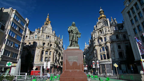 Statue David Teniers on a sunny day in Antwerp Footage