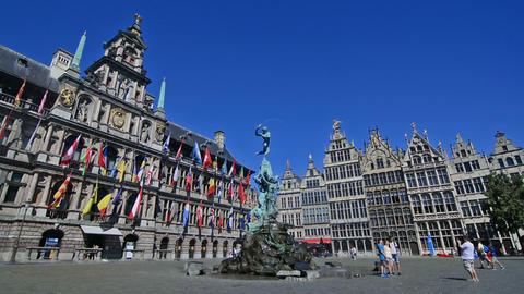 Tourists visiting Bravo statue in the center of Antwerp Footage