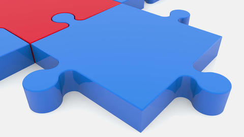 Moving puzzle pieces in red and blue colors Animation