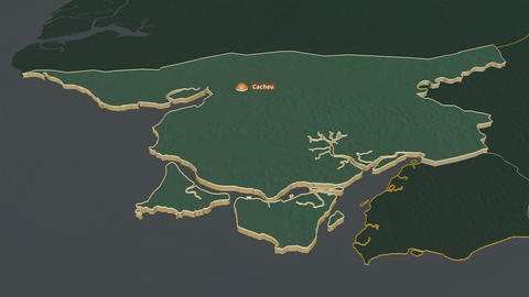 Cacheu extruded. Guinea-Bissau. Stereographic relief map Animation