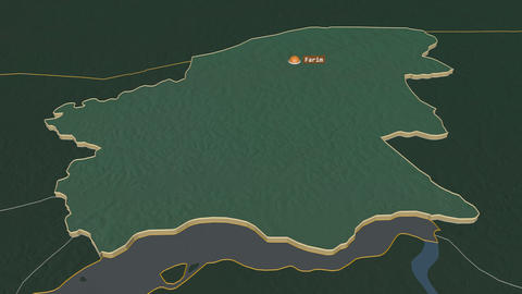 Oio extruded. Guinea-Bissau. Stereographic relief map Animation