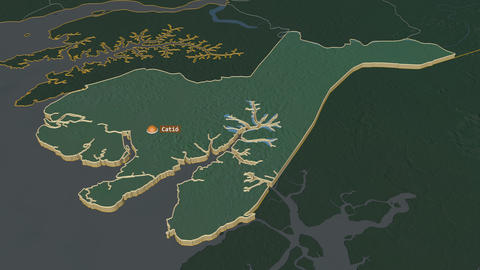 Tombali extruded. Guinea-Bissau. Stereographic relief map Animation